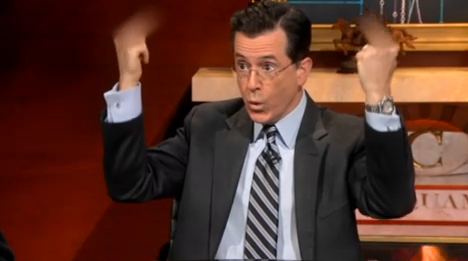 Colbert Gives World the Finger