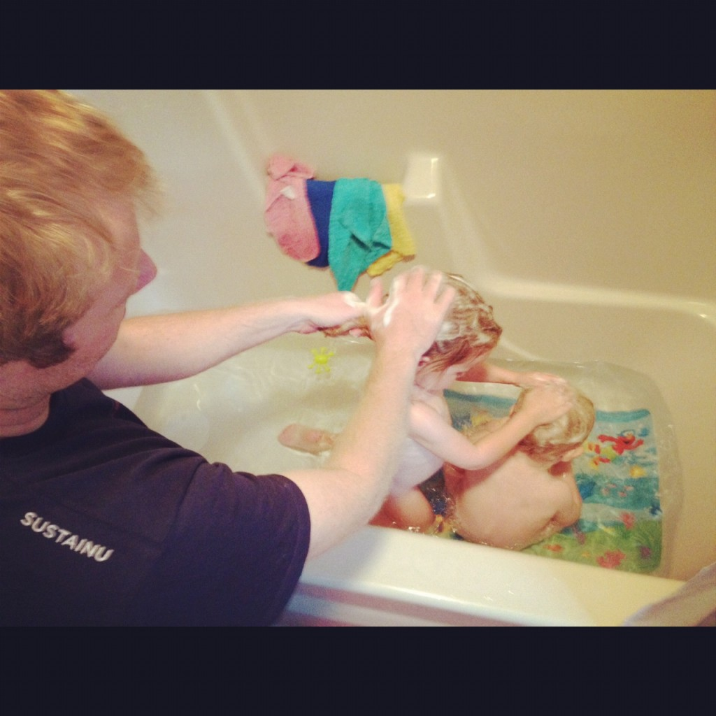Bath time at the Timmerman house
